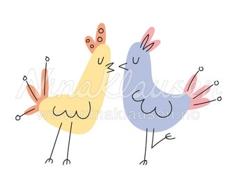 Birds in Love Clipart Illustration for Small Commercial Use - 0003