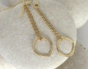 Crystal Shaped Gold Earrings - Gemology Earrings III in Gold Fill