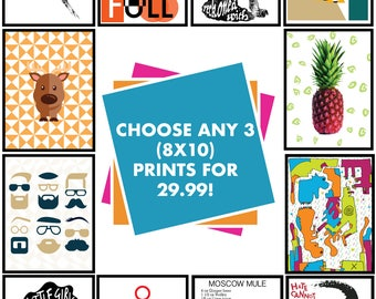 Pick Any 3 Art Prints 8X 10 Size - ANY THREE Prints In My Shop - 3 Varieties Of Any Prints - Pick three art prints from my shop any section