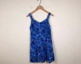 90s  Blue Floral Romper Size Medium, Sleeveless Romper, Tank Romper