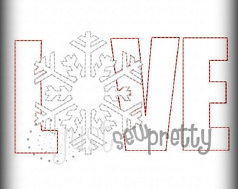 Love Snowflake Applique Redwork Embroidery Design