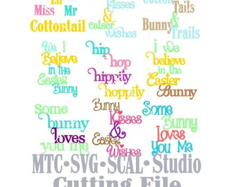 SVG Cut File Easter Bunny Sayings Quote Bundle of 9 MTC SCAL Cricut Silhouette Cutting File