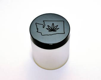 Laser Engraved Washington State with cannabis Stash Jar 4 oz