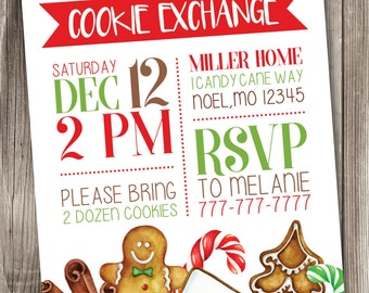 Christmas Cookie Exchange Invitation, Holiday Cookie Exchange Invitations, Cookie Swap Invitation, Oh Snap, Gingerbread Invites, #004