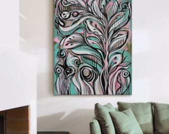"""Large Painting Original Expressionist Painting Abstract Painting - Pink, Green White and Black - 48"""" x 36"""" - Mid Century Modern Flowers"""