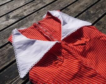 1970s dress 70s Vintage red white stripes empire waist sleeveless maxi dress pointy collar Hand made boho chic xsmall size / K1