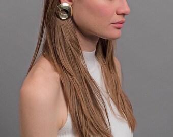 80s Geometric Earrings / Statement Earrings / Oversized Earrings / Costume Jewelry / Fashion Earrings / Gold Earrings