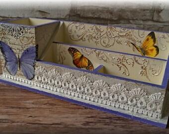 Desk organizer Office desk accessories Pen holder Desktop organizer Wood organizer Wood pen holder Decoupage holder Batterfly Gift for girl
