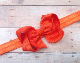 Orange baby headband - baby headband, baby girl headband, baby headband bows, newborn headband, baby headbands, baby bows, baby hair bows