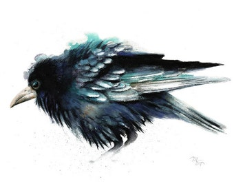 Crow painting watercolor - Giclee Print Nature or Bird Illustration Crow Raven Dorm Decor Wall
