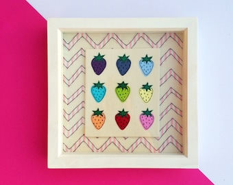 Strawberry free motion machine embroidery  Framed Picture, strawberries, pink, popart, handmade, embroidered picture, modern art