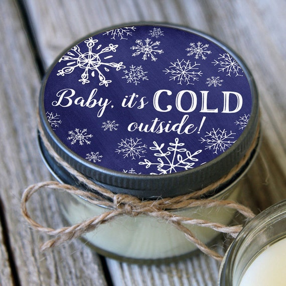 Set of 12 - 4 oz Baby it's Cold Outside Baby Shower Favor Candle- Personalized Baby Shower Favors // Winter Baby Shower// Favors