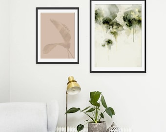 Green Abstract Print. Abstract Art. Green Art. Abstract Painting. Misty Morning. Abstract Art Print. Minimal Wall Art. Wall Decor.