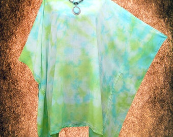 Tropcial Beach Hand dyed Wearable Art Casual Blouse Poncho Top Tunic