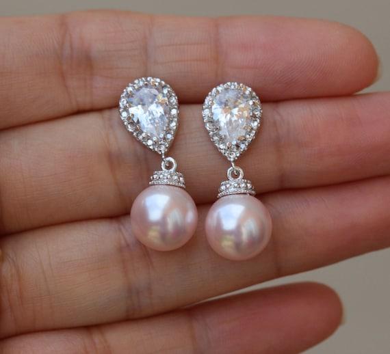 Ohrringe rose mit perle