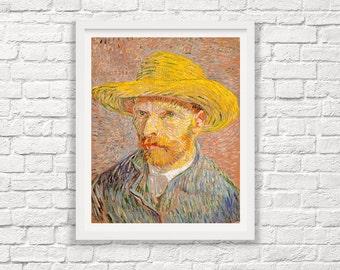 Van Gogh Print - Vincent Van Gogh - Self Portrait with Straw Hat 1887  Impressionist Painting - Painting Print - Giclee Print - Van Gogh Art