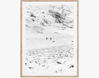 Snowy Mountain Print, Minimalist Printable Wall Art, Landscape Photography, Black and White Print, Nature Photography, Gallery Wall Decor