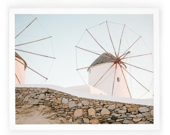 Windmill Photography / Home Décor / Mykonos / Art Print / Framed Print / Photography / Decor / 8x10, 16x20 / Wall Hanging. Windmills Print