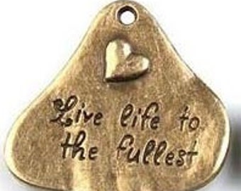 2 Live Life to the Fullest  Bronze Charms, 34mm, 2 Pieces, Inspirational Words to Live By