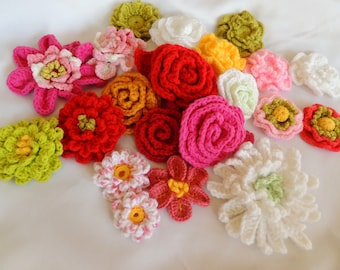 Flower Crochet PATTERNS - Susan's 14 New Crochet Flower Patterns plus Drawstring Bag Pattern - Instant Download