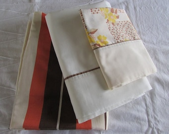 """Vintage Twin Sheet Set - Orange, Brown and Cream Striped Fitted - """"Matching Pillowcase""""  - 70s Linen - Retro Linen"""