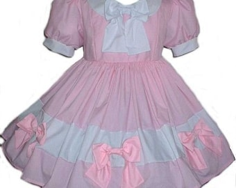 Sissy Dress with Lots of Bows Little Bo Peep Swiss Maid Dress Heidi Pink White Womens Adults Custom Size including Plus Sizes Handmade