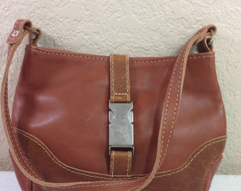 Small Brown Distressed Leather Purse with White Stitching 6 Inches Tall 9 Inches Wide, 18 Inch Strap Previously 18 Dollars ON SALE