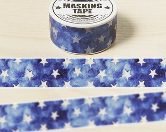 Washi Tape - Blue Starry Washi Tape - Japanese Washi Tape - Decorative Washi Tape - Masking Tape - Deco Tape - Deco Masking Tape