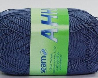 Crochet thread size 10, mercerized cotton, ANNA, 100g/ 579 yds #1007 blue - gray