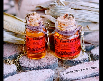 Formaldehyde Necklace, Post Mortem, Mortician , Undertaker Creepy Fun  Glass 2ml and 4ml Glass Vial By: Tranquilityy