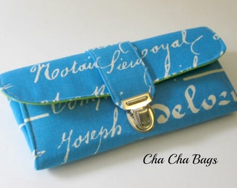 Women's Wallet, Smartphone iPhone Wallet, Clutch, Purse, Accordion, Aqua Blue Wallet in French Script - Ready to Ship