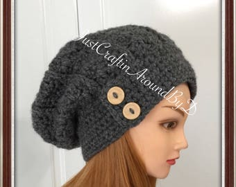Crochet Button Slouch Hat