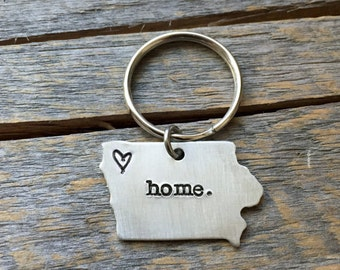 Personalized Home State keychain ANY state hand stamped gift country Home State Iowa Keychain home.