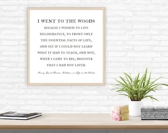 Earth Day Nature Lover Gift, Henry David Thoreau quote, farmhouse decor, life in the woods