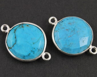 Blue Turquoise, Bezel COIN Component,   16mm, 1 Piece, (BZCT8102)