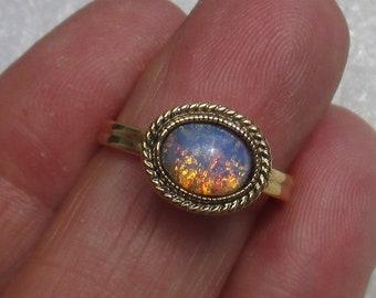 Vintage Faux Opal Adjustable Ring