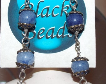 Sodalite Sterling Silver Dangle Earrings Hand wrapped One of a Kind Artisan Jewelry E8