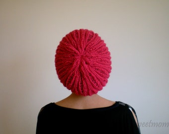Red Slouchy Hat, Women Beanie, Red Hat, Knit Hat, Holiday Hat, Winter Hat, Gift for her