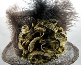 Brown Mini Top Hat Kentucky Derby Wedding Hat