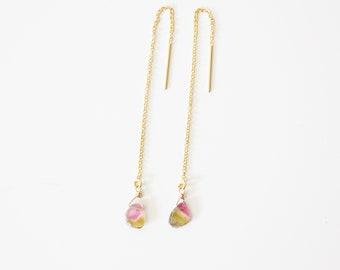 Watermelon Tourmaline Slice Gold Filled Threader Earrings #3