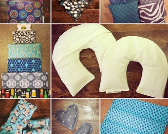 Homemade 100% Natural Hot/Cold Packs!  *Organic Flaxseed, Cherry Pits, & Lavender*  Reusable Neck Pillow, Handwarmers, Nursing Heat/Ice Pad