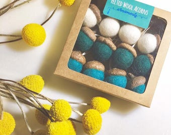 Felted Wool Acorn Ornaments| Felt Acorns on Hemp String | Set of 12 | In Gift Box | Multiple Colors!