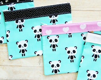 Pencils case panda bear cosmetic make-up bag toilet carry-all zipper pouch mint green white black pink animal cotton wallet purse kids gift