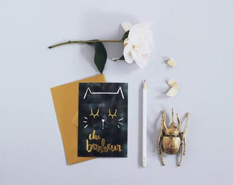 Cat Card - gilding - happiness - postcard - Watercolor - Card Mother's Day - message board - Greeting Card - Love Card