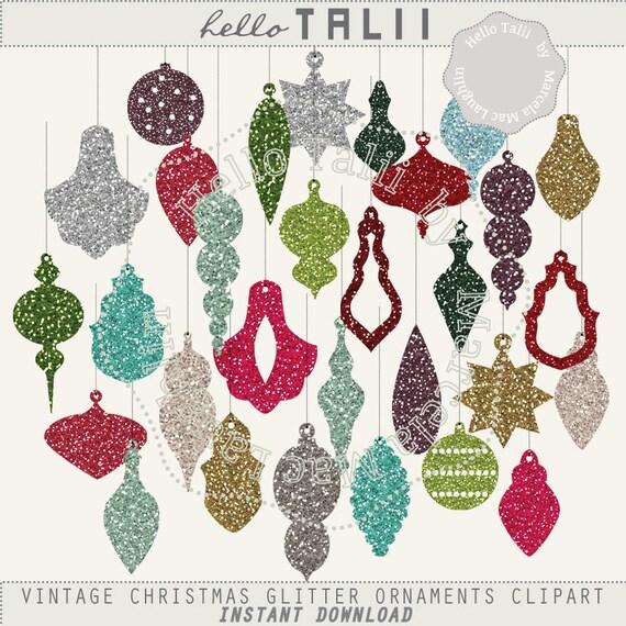 Glitter Ornaments CHRISTMAS Clip Art Vintage Christmas Tree Decorations Balls Baubles Stars Sparkle Decor Holidays Digital