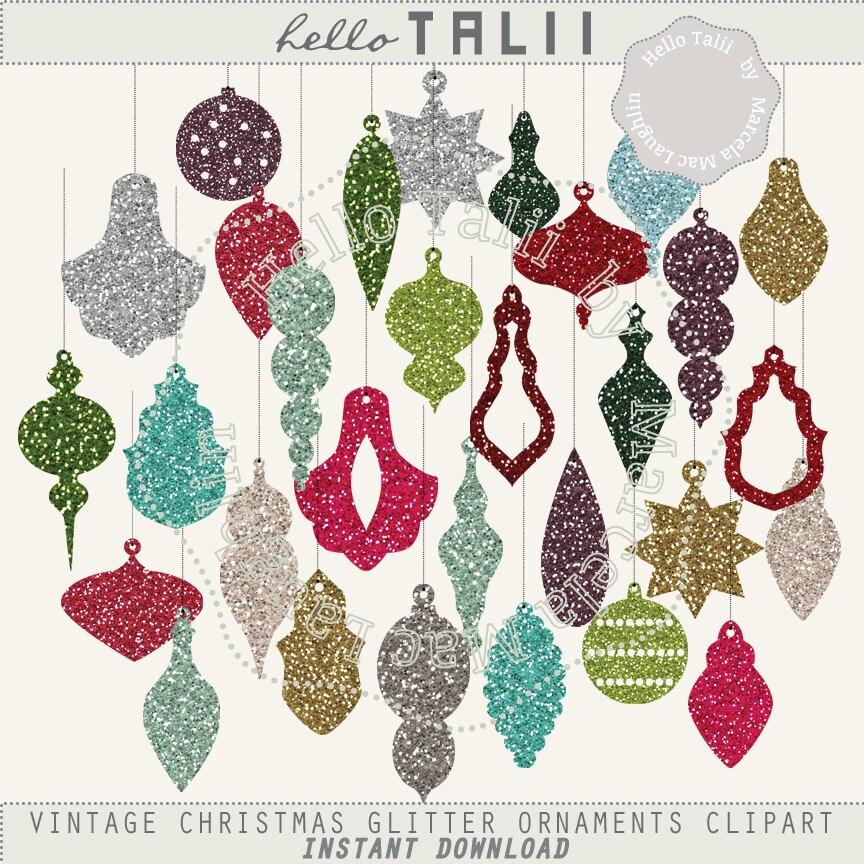 Sale On Christmas Tree Decorations: Sale! Glitter Ornaments CHRISTMAS Clip Art- Vintage