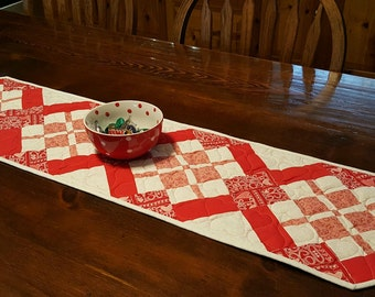 Valentine Table Runner,  Quilted Hearts Table Decoration, Handmade Red and White Table Runner