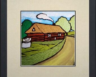 Silk painting of a farm