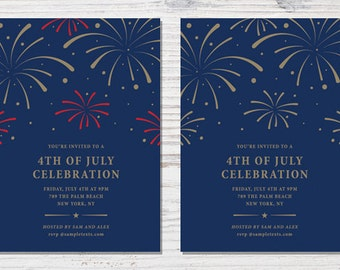 Fourth of July Template // 4th of July Card // Fourth of July Invitation // Printable Fourth of July