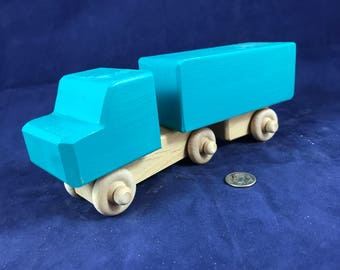 Wooden Toy Truck and Trailer Handmade Natural Hardwood Handcrafted Wood Toy Tractor Trailer 170802